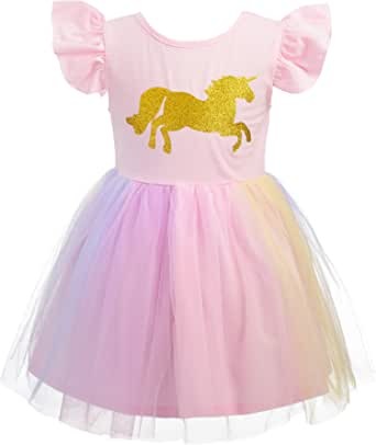 Dressy Daisy Girl Unicorn Dress Up Costume Birthday Party Tulle Dresses Summer Sundress