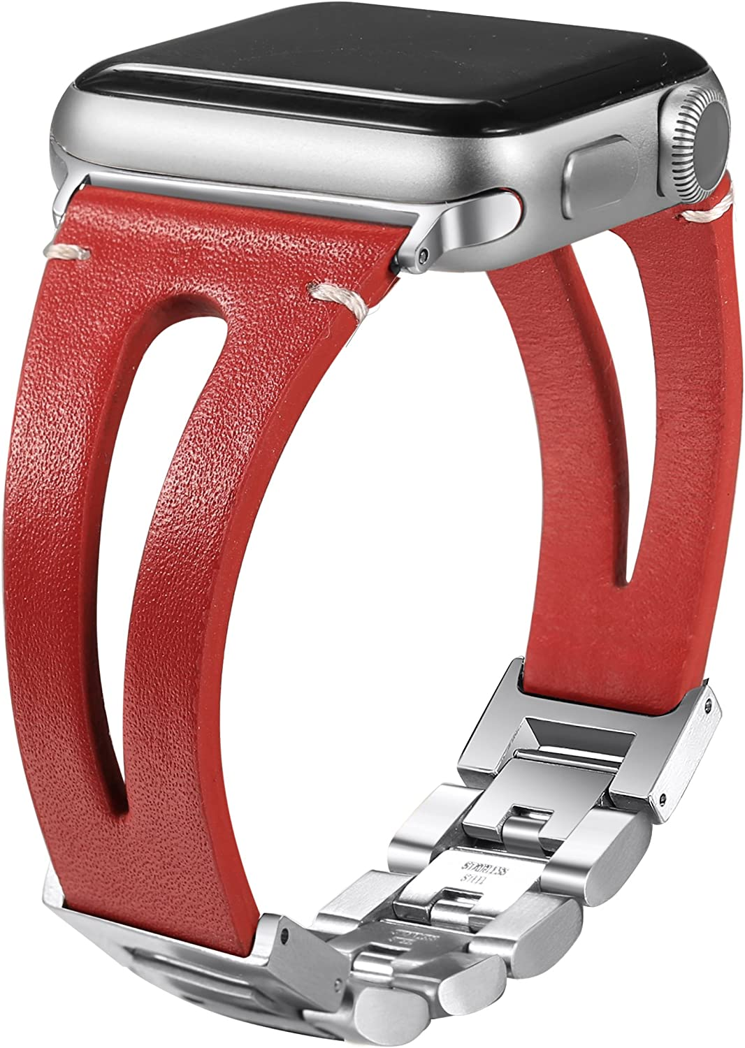 Secbolt 42mm/44mm Leather Bands Compatible Apple Watch Band Series 4/5/6 44mm, Series 3/2/1 42mm, Handmade Vintage Leather Bracelet, Hollowed Red