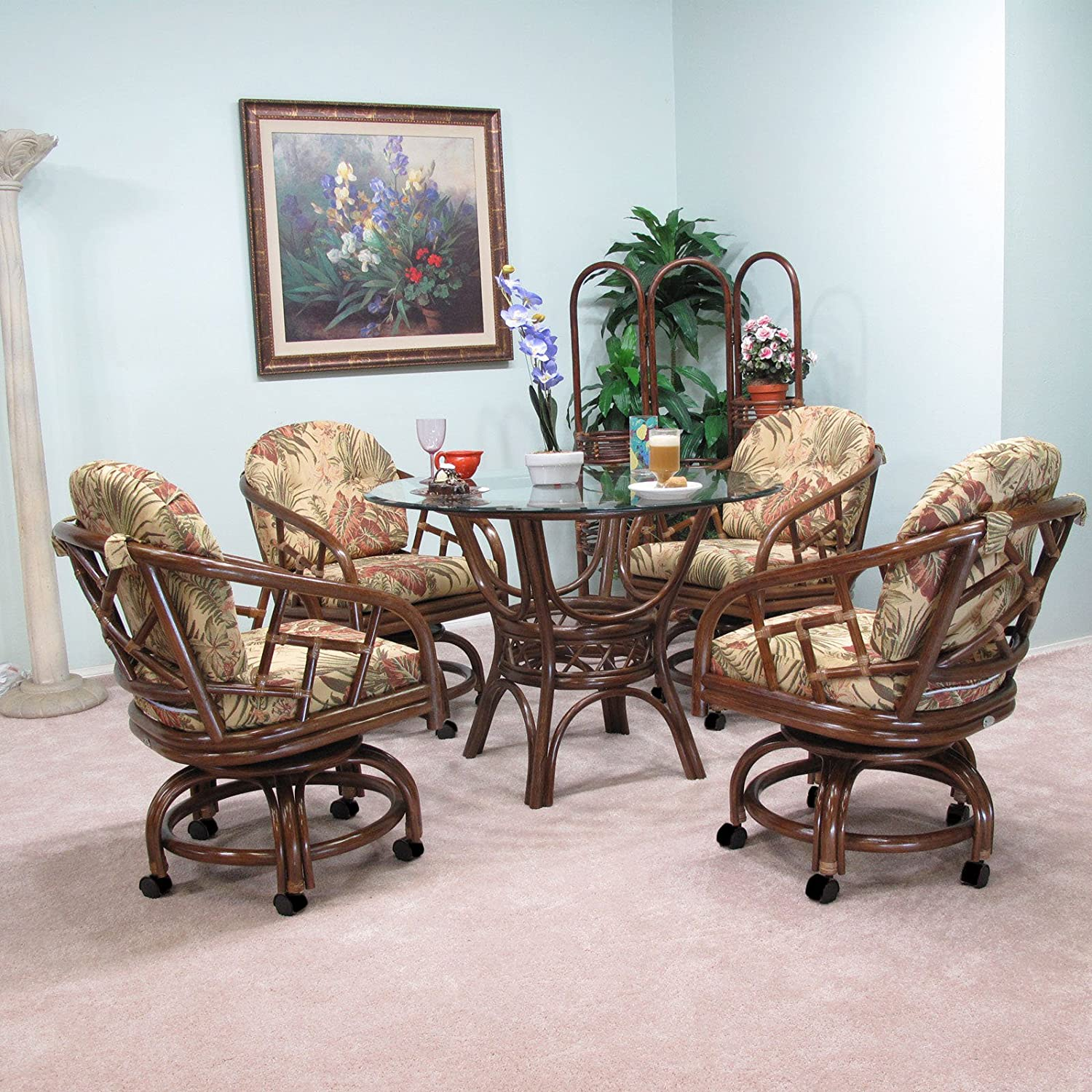 urbandesignfurnishings.com Made in USA Rattan Chiba Dining Caster Chair Table Gaming Furniture 5 Piece Set (Walnut; Panama Tropic fabric)