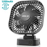 OPOLAR Battery Operated Desk Fan with Large Capacity of 5200mAh, 3 Speeds with Timer, 7 Blades, Super Quiet, Powered by USB or Rechargeable Battery, Perfect Small Personal Fan for Table & Outdoor