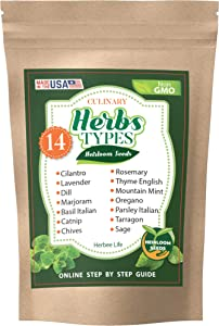 14 Herb Seeds Variety Pack for Planting Outdoor and Indoor - Cilantro, Basil, Parsley, Chives, Oregano, Dill and Others for Your Garden - Grown in US