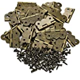 PGMJ 40 Pieces Antique Small Butterfly Hinges Bronze Engraving Design Box Hinges for Wooden Box Gift Box Hinges Cabinet Drawer Jewelry Box and 160 Screws