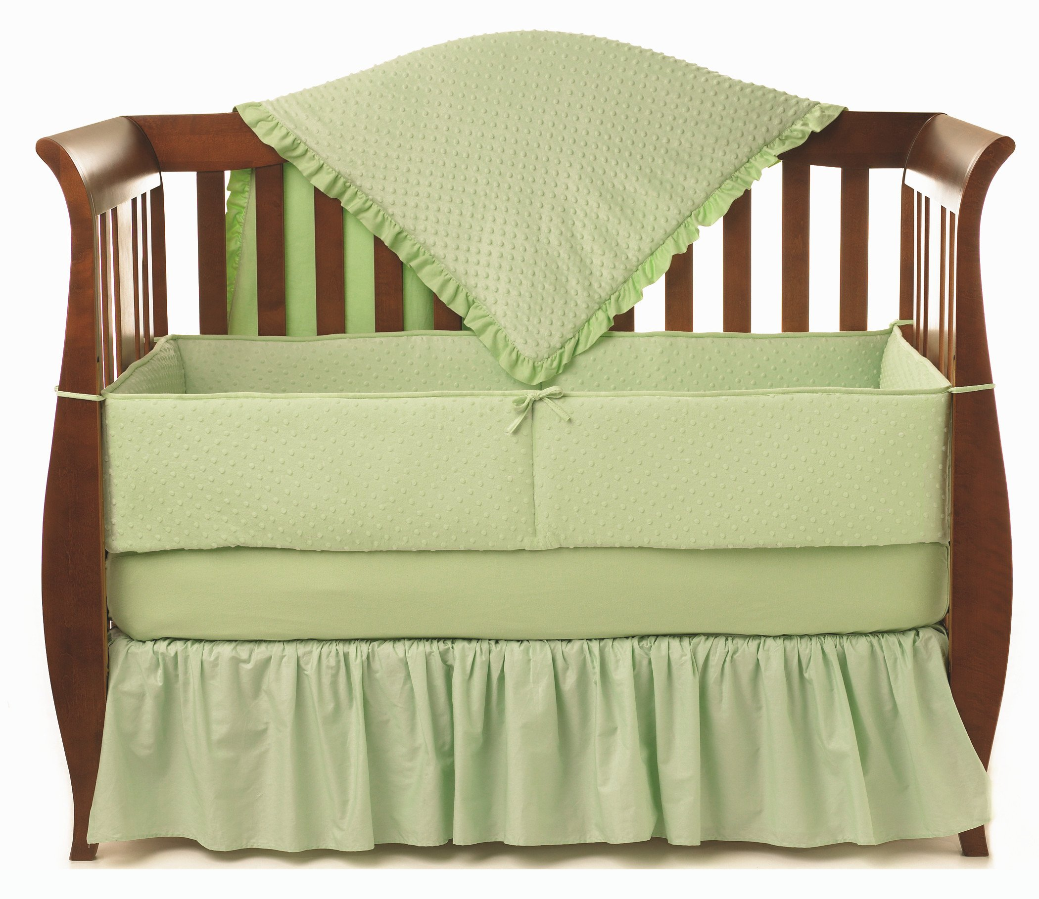 American Baby Company Heavenly Soft Minky Dot 4-Piece Crib Bedding Set, Celery