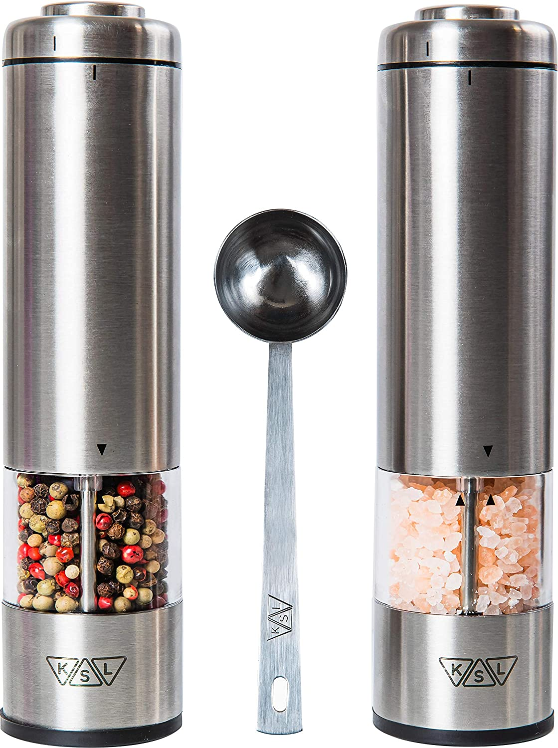 Ksl Electric Salt And Pepper Grinder Set Batteries Included Automatic Adjustable Shakers Stainless Steel Powered Spice Mills Battery Operated Kitchen Peppermills Light Housewarming Gift Idea Amazon Ca Home Kitchen