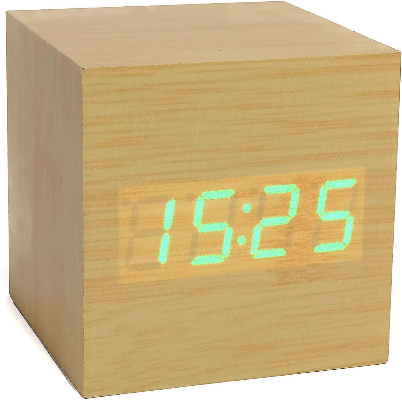 1134-30 Atlanta R/éveil Digitale LED Affichage Lumineux Horloge de Table en Brun Beige Optique Bois Design Quartz