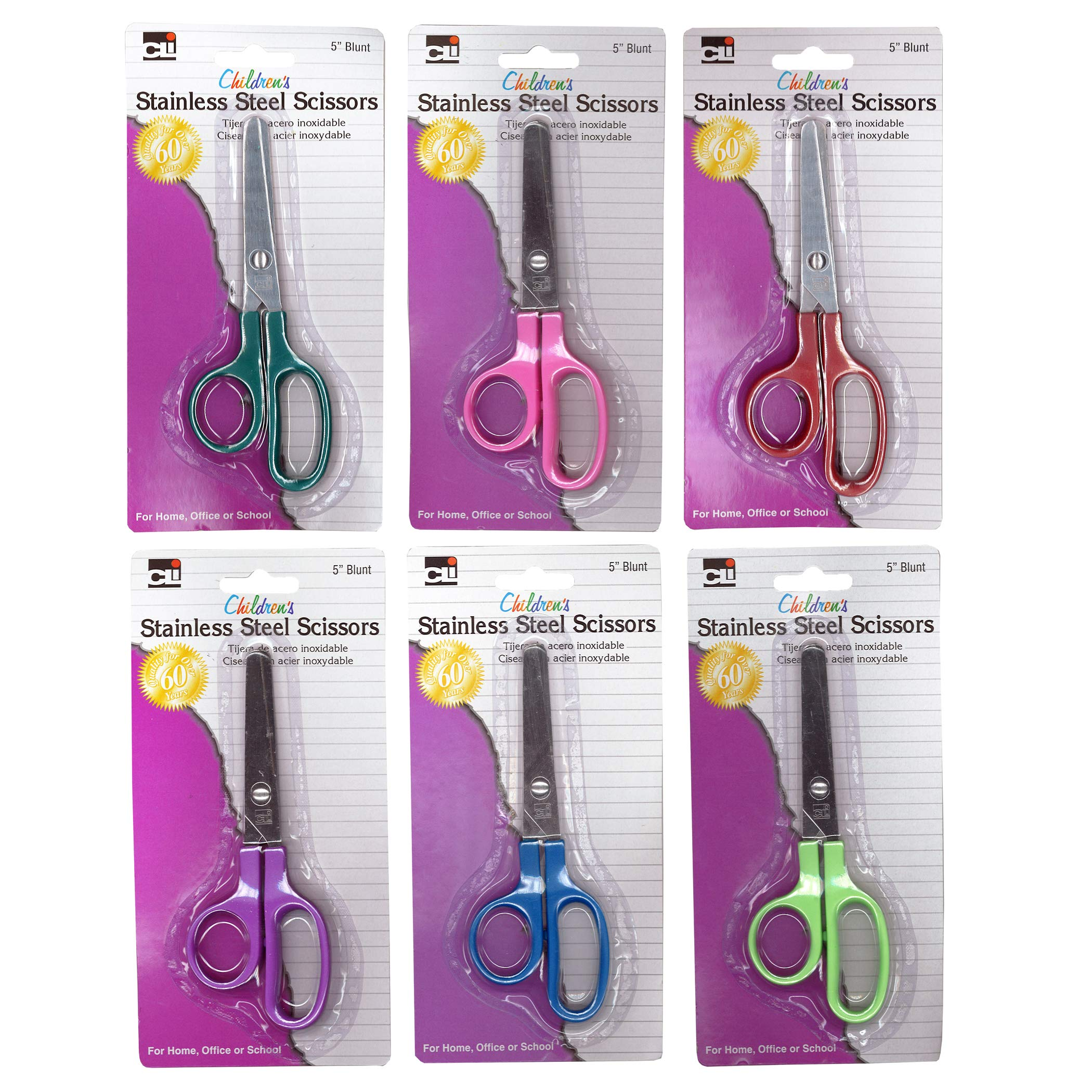 Charles Leonard CHL80510BN Children's 5'' Scissors, Blunt Tip, Assorted Colors, Pack of 24