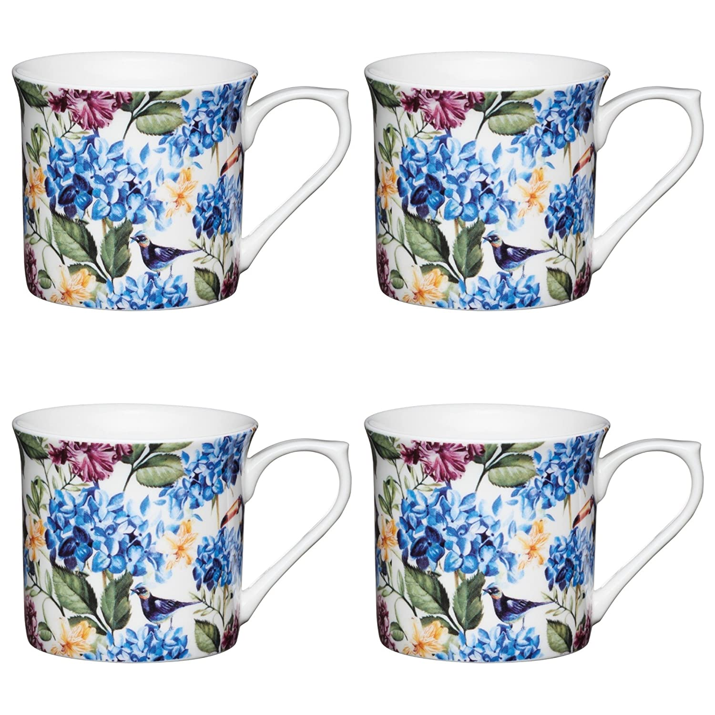 300 ml KitchenCraft Fine Bone China Blue Bird Fluted Floral-Printed Mugs Multi-Colour Set of 4