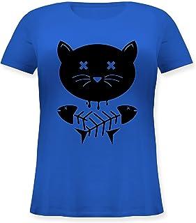 Katzen - Katze Skull - Lockeres Damen-Shirt in großen Größen mit Rundhalsausschnitt