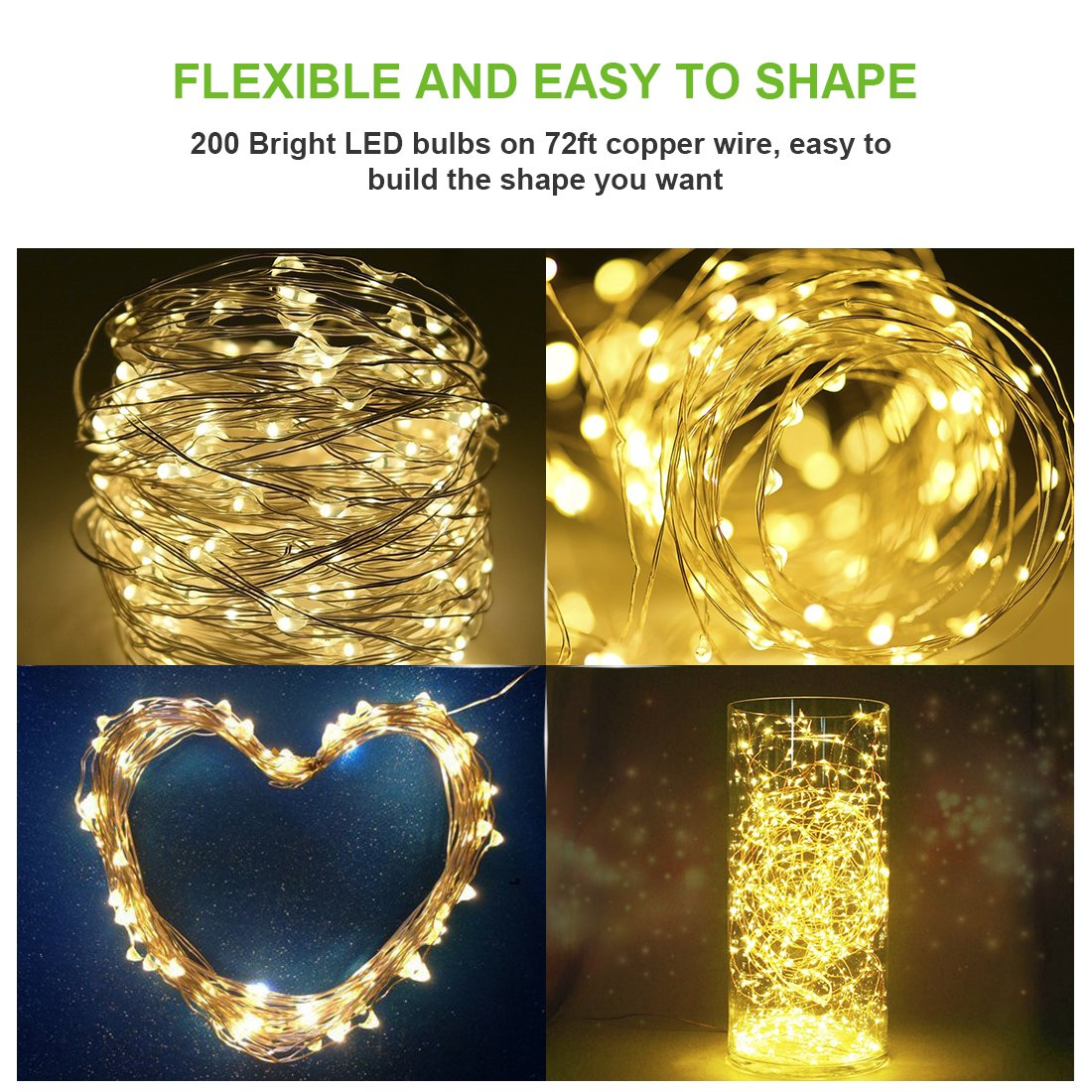Rophie 200 LEDs Solar String Lights 72 foot Warm White String Lights by Rophie (Image #5)