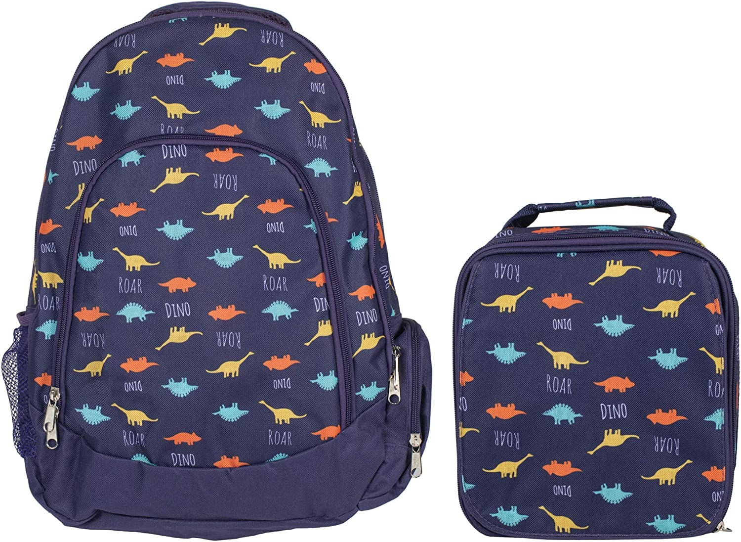 Dinosaur Navy Blue Boy's Insulated Polyester Blend Backpack and Lunchbox Set