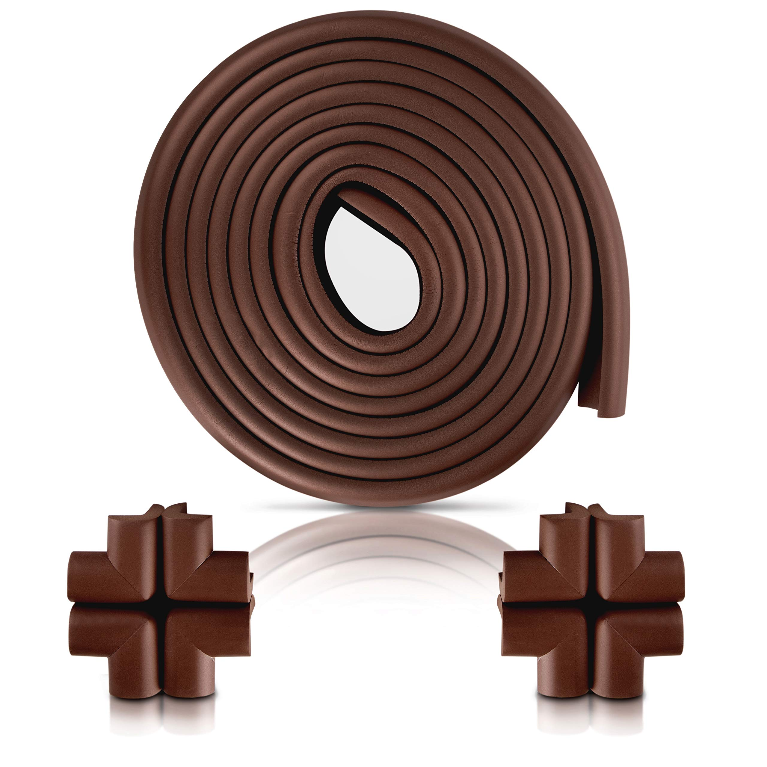 Sharp Edge and Furniture Safety Guards 20.4ft Protective Foam Cushion; 18ft Bumper 8 Adhesive Childsafe Corners Baby Caring Child Proofing Set NonToxic and Safe For Table, Fireplace, Countertop; Brown