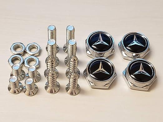 Laser Etched Black Aluminum Mercedes Benz License Plate Frame Fastener Screw Cap