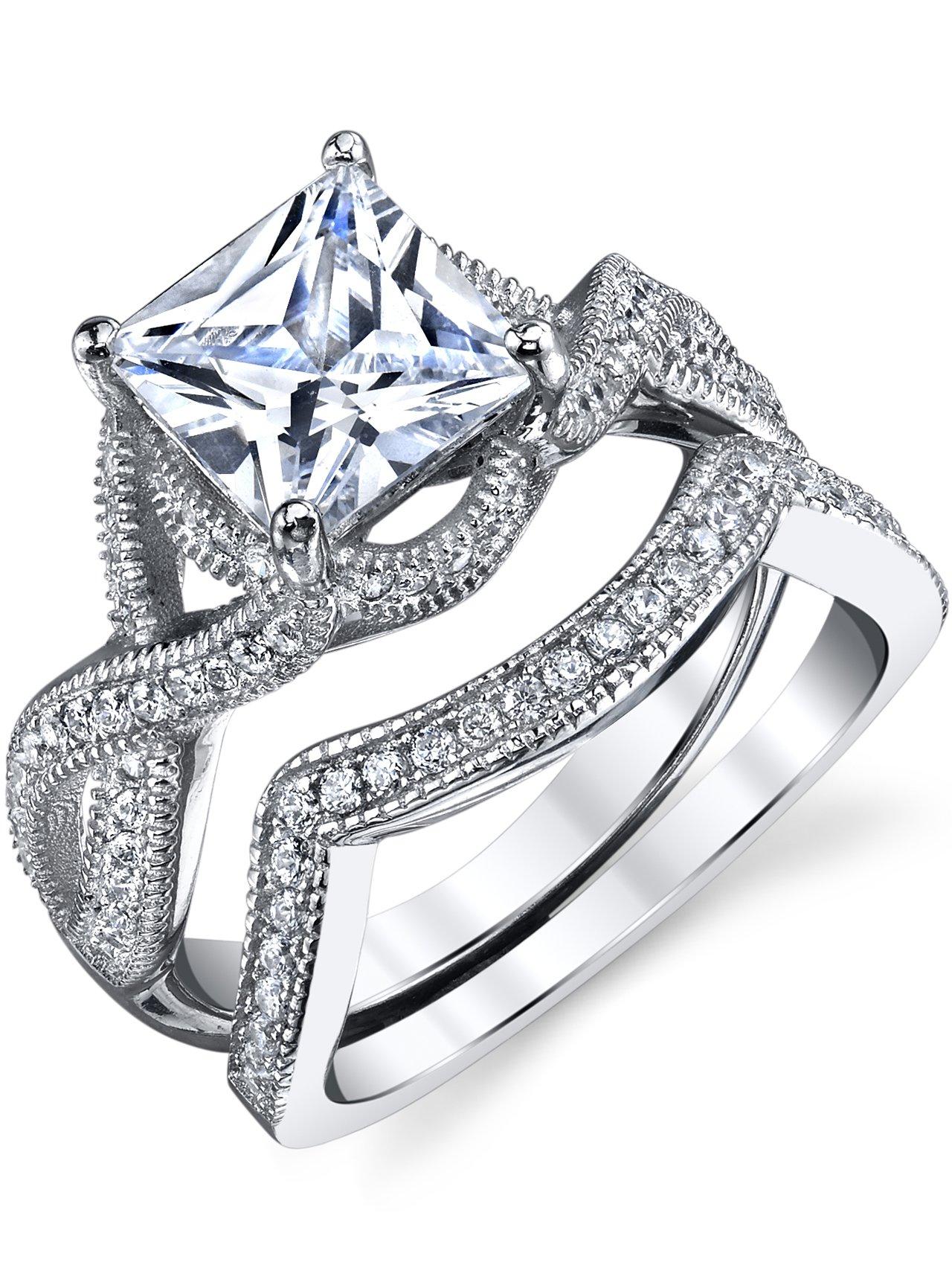 3 Carat Princess Cut Sterling Silver and Cubic Zirconia Wedding Ring Engagment Band, Bridal Set SZ 7