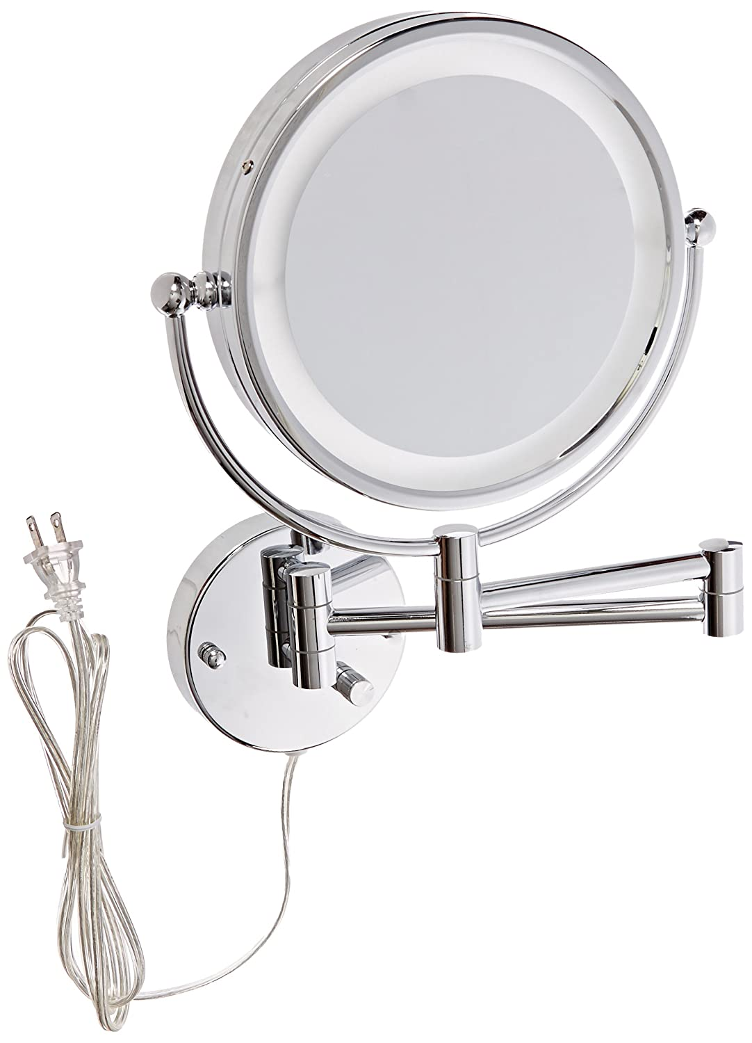 American Imaginations AI-13-557 Round LED Mirror with Light Dimmer and Dual 1x/5x Zoom, 8.5-Inch
