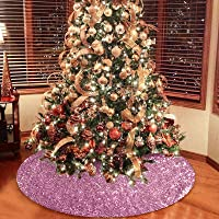 Rose Gold Sequin Christmas Tree Skirt, 48 Inch Double Layers Tree Mat for Xmas Decorations