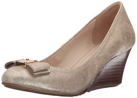 Cole Haan Women's Tali Grand Bow Wedge Pump, CH Gold/Metallic Suede, 10