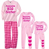 Footsteps Clothing Awesome Big Middle Or Little Sister Pink Matching Pajamas