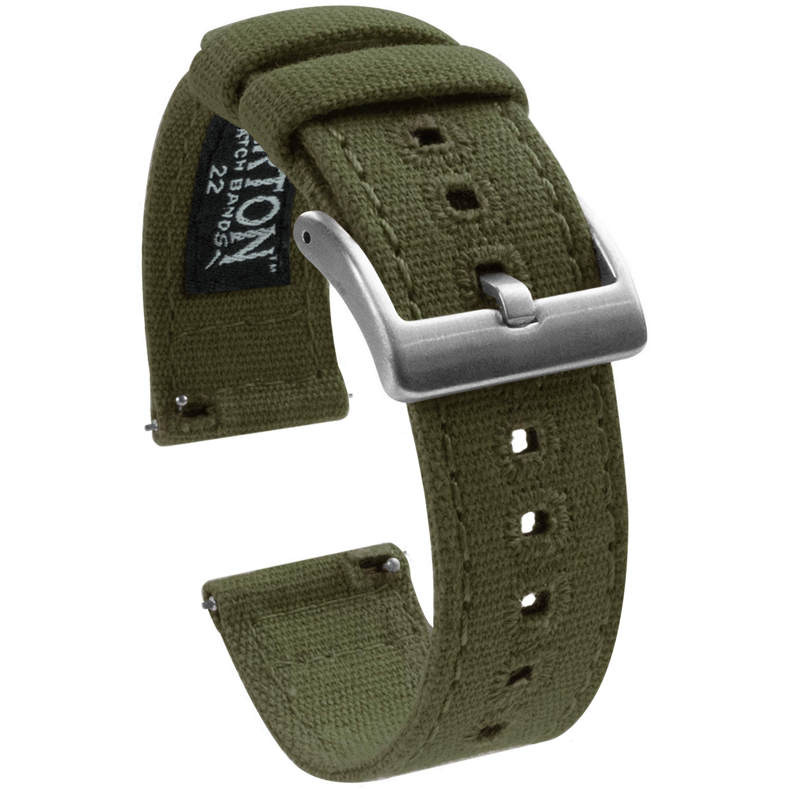 22mm Army Green - Barton Canvas Quick Release Watch Band Straps - Choose Color & Width - 18mm, 19mm, 20mm, 21mm, 22mm, or 23mm by Barton Watch Bands