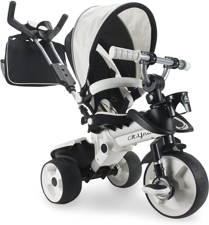 INJUSA - Triciclo City Max Blanco para Bebés +6 Meses con Mango de Control Parental de Dirección