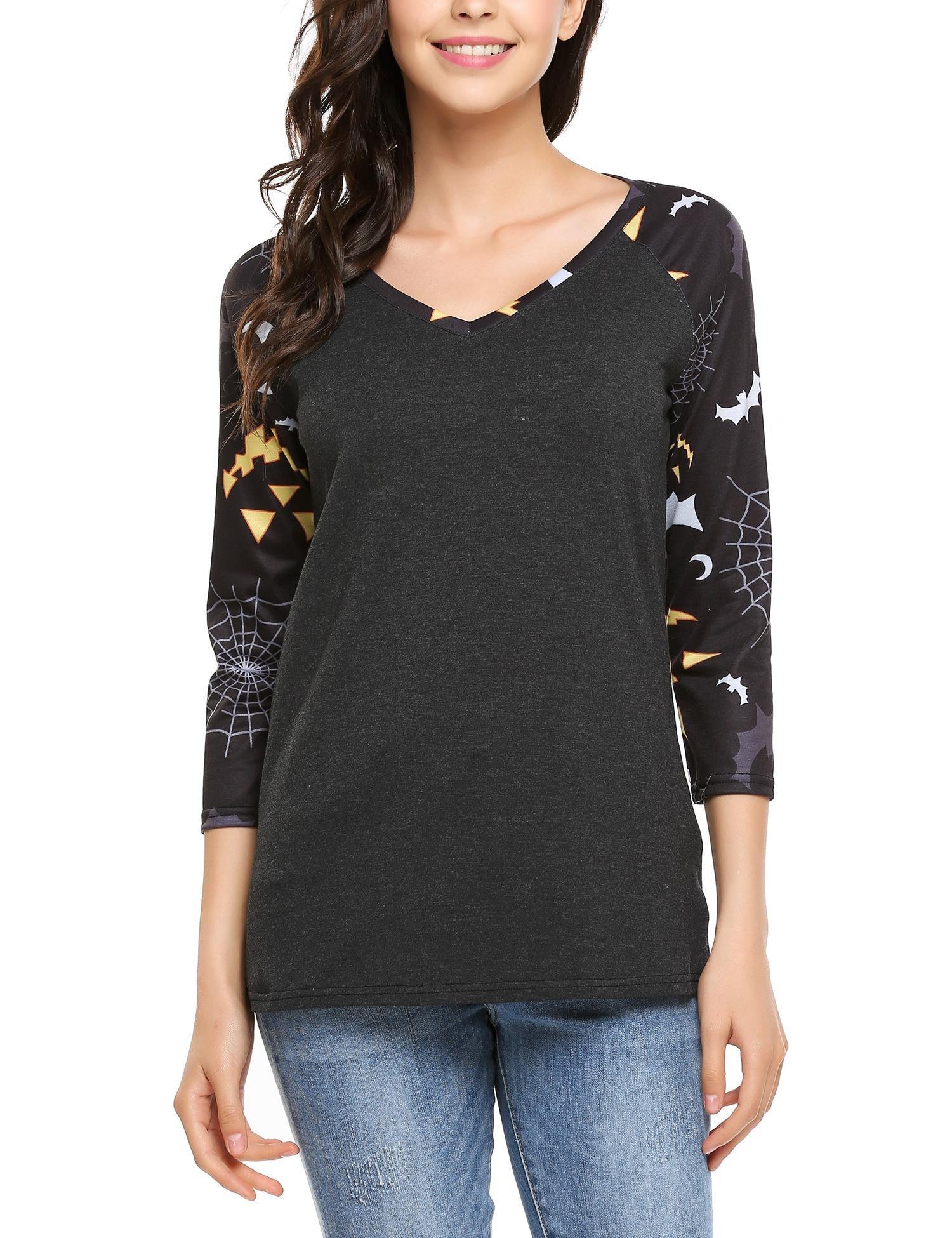 ELESOL Women's V Neck Casual 3/4 Sleeve Printed Baseball Tshirt Raglan Jersey Shirt Gray3 XXL