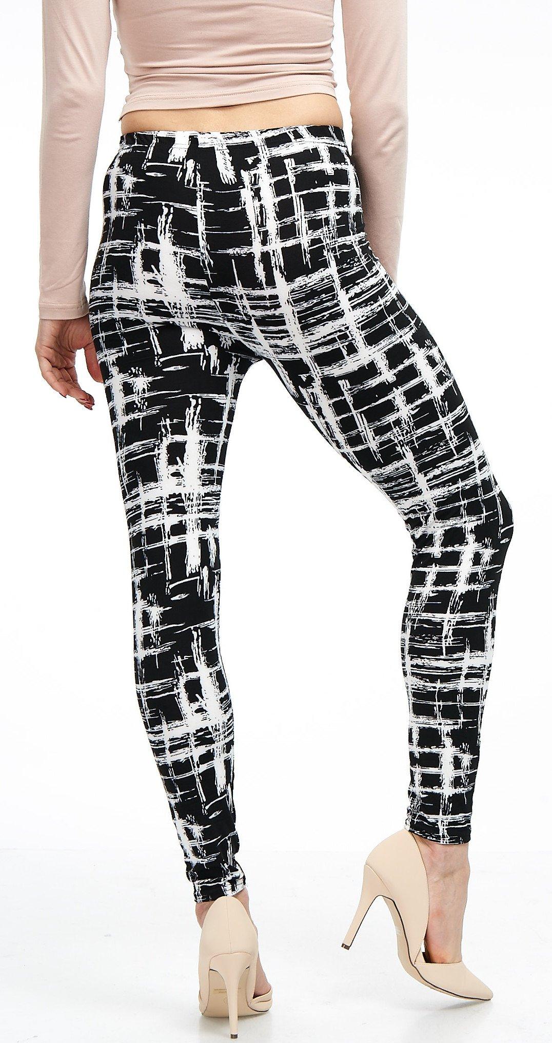 LMB Lush Moda Extra Soft Leggings with Designs- Variety of Prints - 720F Black White Stripes B5 by LMB (Image #8)