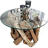 Dunord Design Couchtisch Treibholz Glastisch Glas Holz Tisch 60cm