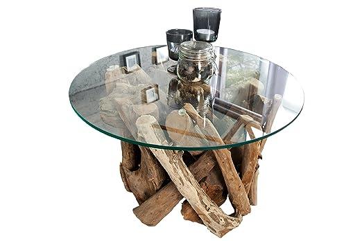 DuNord Design - Mesa Redonda Madera Maciza Mesa de Cristal 60 cm ...