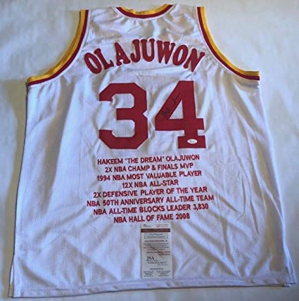 214f030d05a Image Unavailable. Image not available for. Color  Hakeem Olajuwon  Autographed Signed Houston Rockets White Stat Jersey ...