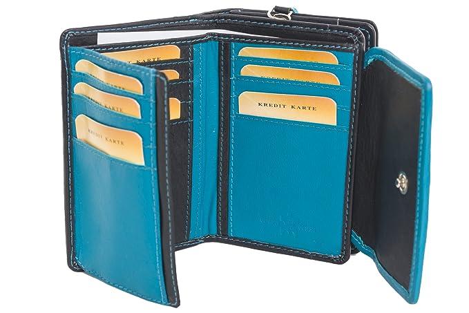 Cartera para mujer - Muchos compartimentos - Cuero de gran calidad - Varios colores - Negro/azul: Amazon.es: Ropa y accesorios