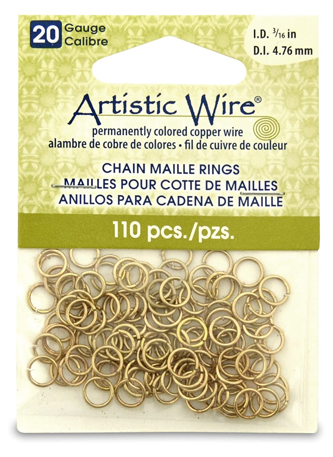 Artistic Wire Beadalon 3/16-inch 110 Piece 20-Gauge Non-Tarnish Chain Maille Rings, Brass A314-20-NTB-08