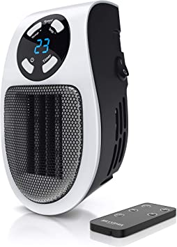 Brandson - Mini Calefactor cerámico 500W - Mini Calentador - Plug-in Enchufe - Mando a Distancia...