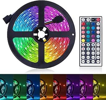 Led Strip Lights, JR INTL 16.4ft/5M RGB LED Light Strip 5050 LED Tape Lights, Color Changing LED Strip Lights with Remote for Home Lighting Kitchen Bed Flexible Strip Lights for Bar Home Decoration