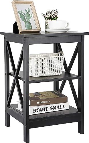 ZENY End Table, Sofa Side End Storage Shelf Versatile X-Design Night Stand, Living Room Bedroom Furniture