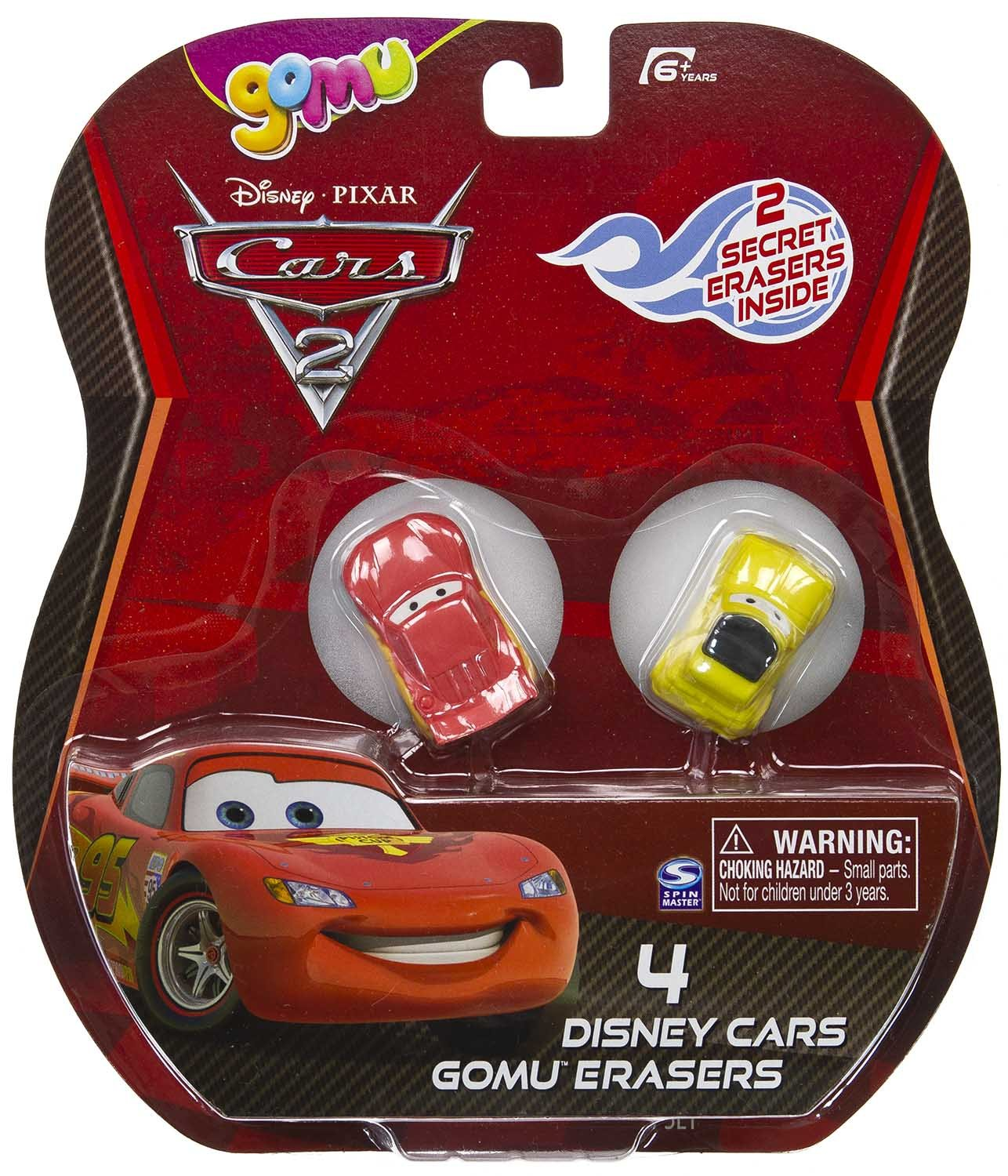 2 Mysteries - Pixar Cars 2 X Gomu Collectible Erasers Series #1 4 Mini-Erasers Luigi Lightning McQueen