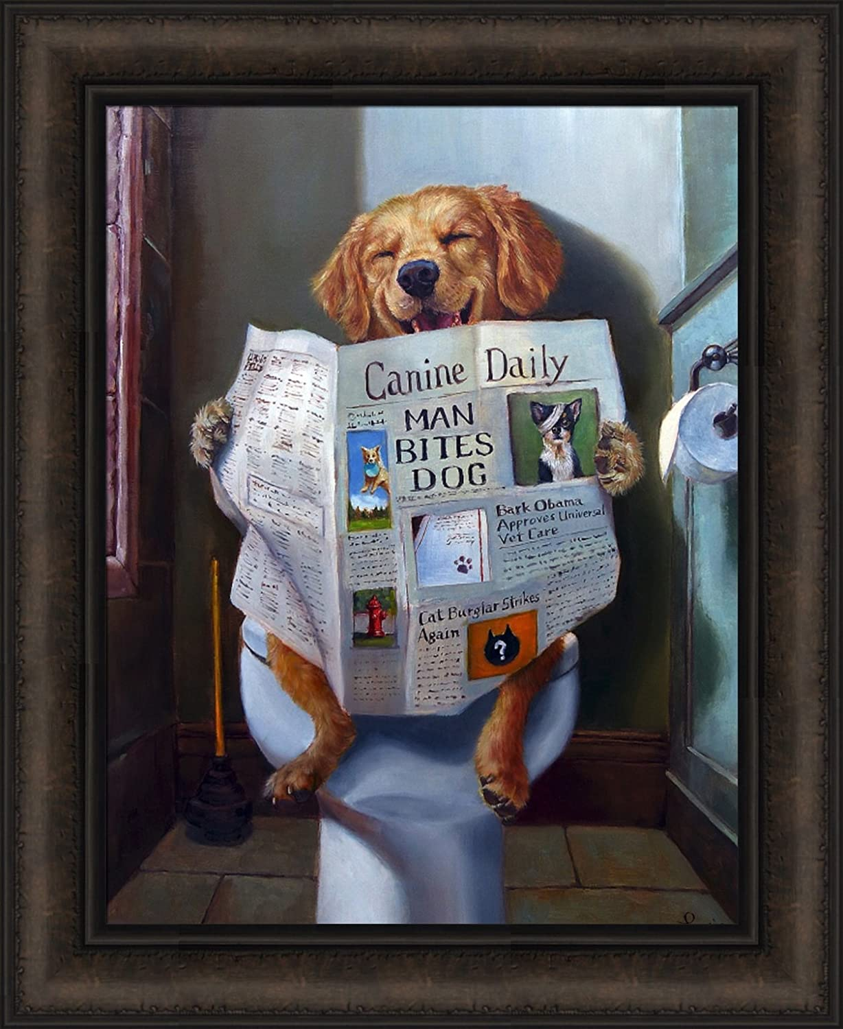 Dog Gone Funny by Lucia Heffernan 18x22 Humorous Reading Newspaper Canine Daily Toilet Bathroom Framed Art Print Picture