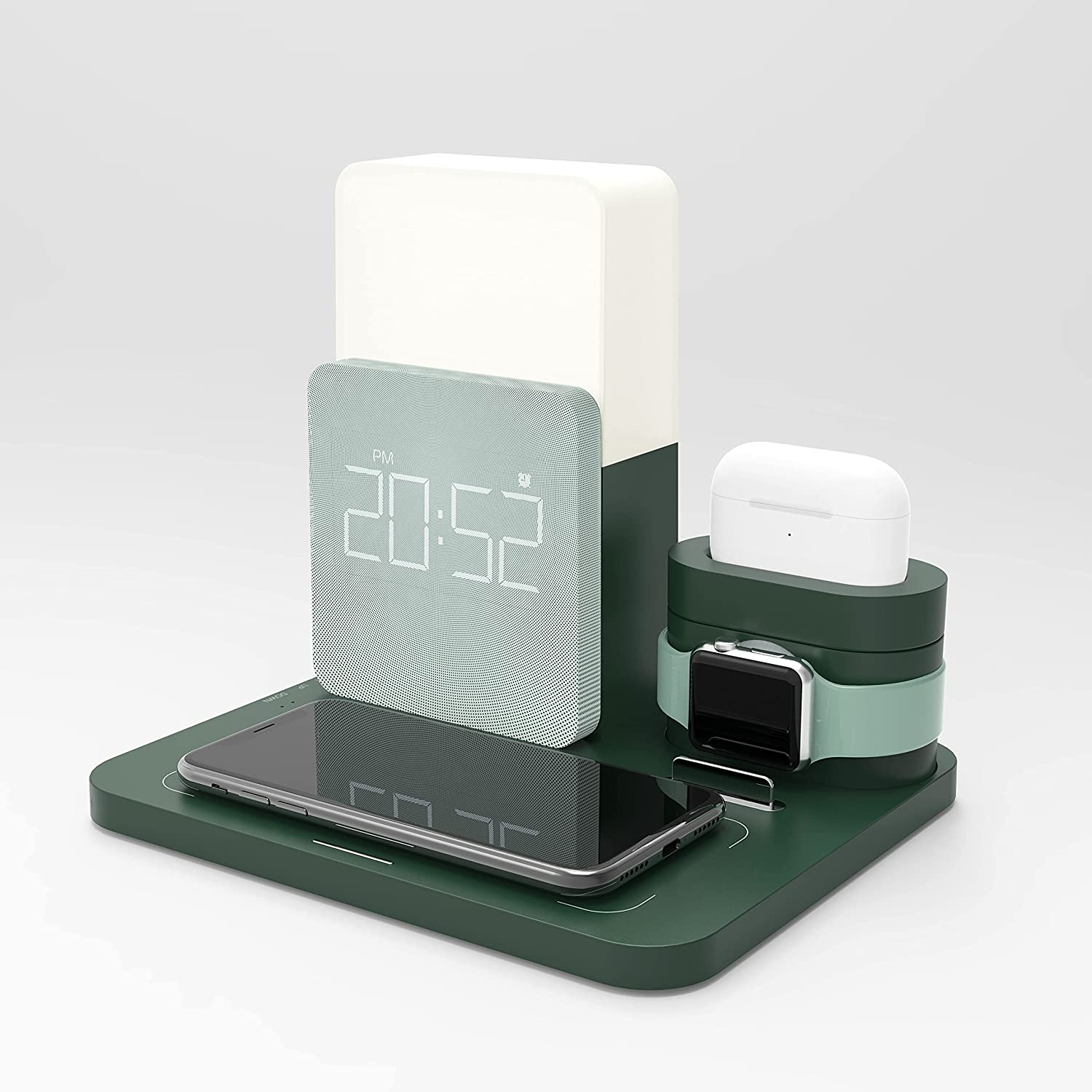 Alarm Clock with Wireless Charging,6 in 1 Wireless Charging Station Compatible with iPhone,Apple Watch&Airpods,LED Desk Lamp with Wireless Charge Block for Multiple Devices,Alarm Clock for Bedroom