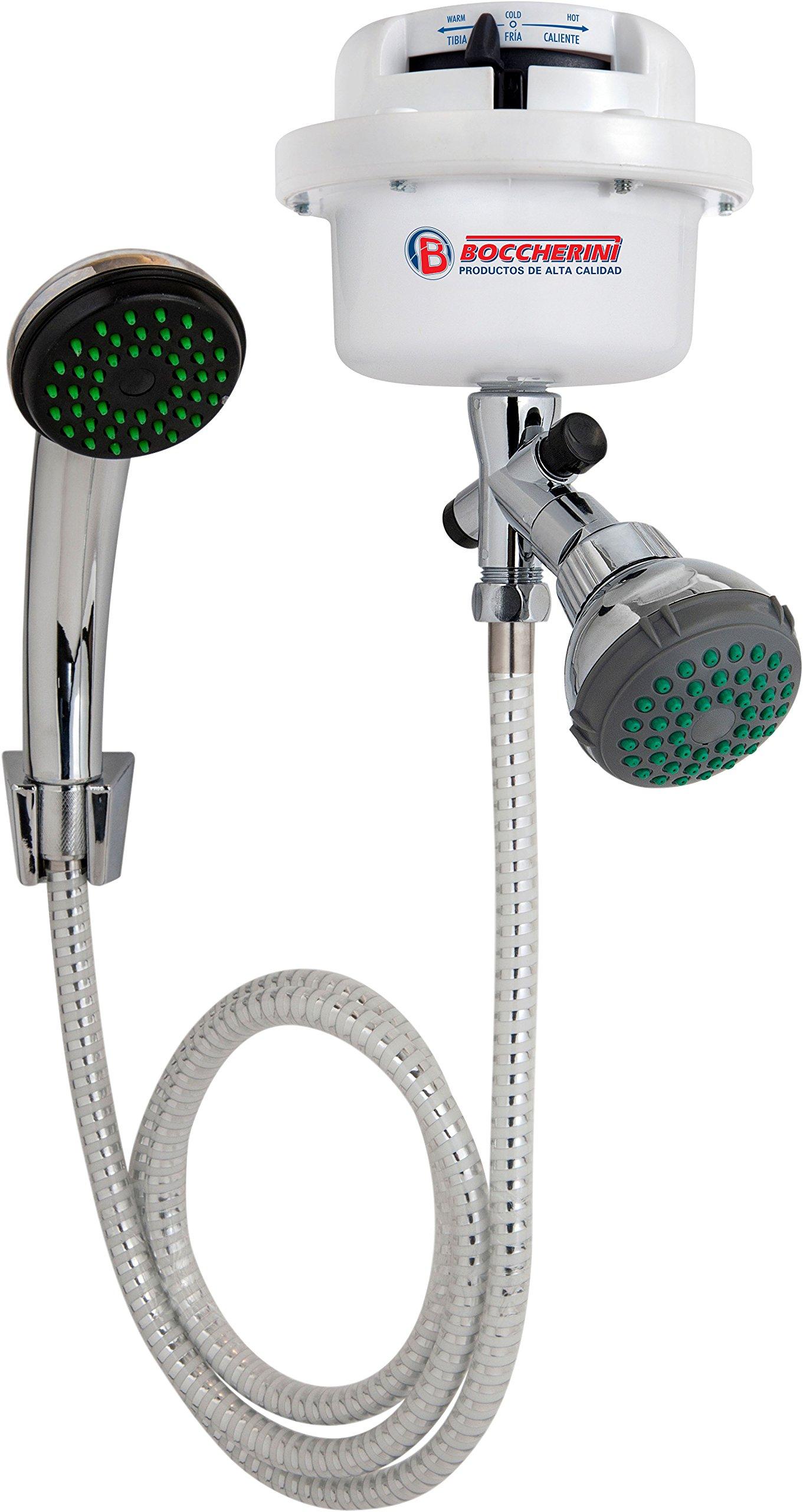GARLAT Boccherini 110V Electric Instant Hot Water Shower Heater + Super Flexible Stainless Steel Hose + Rainfall Shower Head (Rainfall Shower Head)