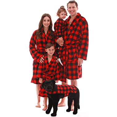 #followme Matching Velour Buffalo Plaid Lounge Robes Family