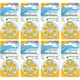 Powermax USA Size 10 Hearing Aid Batteries, Yellow Tab, No Flavors (Pack of 8) 64.0 Count