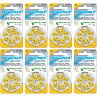 Powermax Size 10 Hearing Aid Batteries, Yellow Tab, Made In the USA, 64 Count