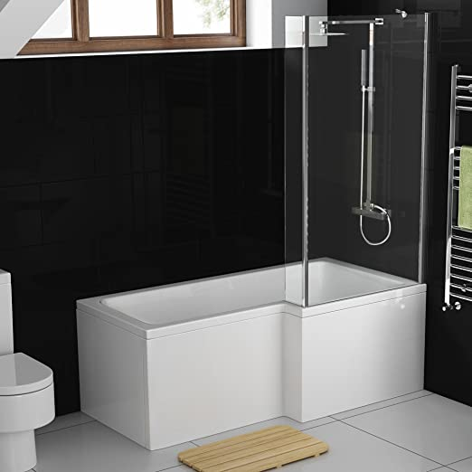 1500 mm derecha en forma de L de mano moderna ducha bañera con ...