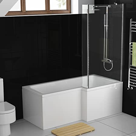 1500 mm derecha en forma de L de mano moderna ducha bañera con mampara de ducha + Panel: iBathUK: Amazon.es: Hogar