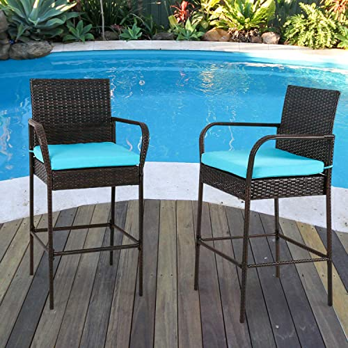 Outdoor 2 Pcs Outdoor Bar Height Chair Set Patio Wicker Rattan Counter Dining Desk Bar Stool High Chairs with Blue Cushions