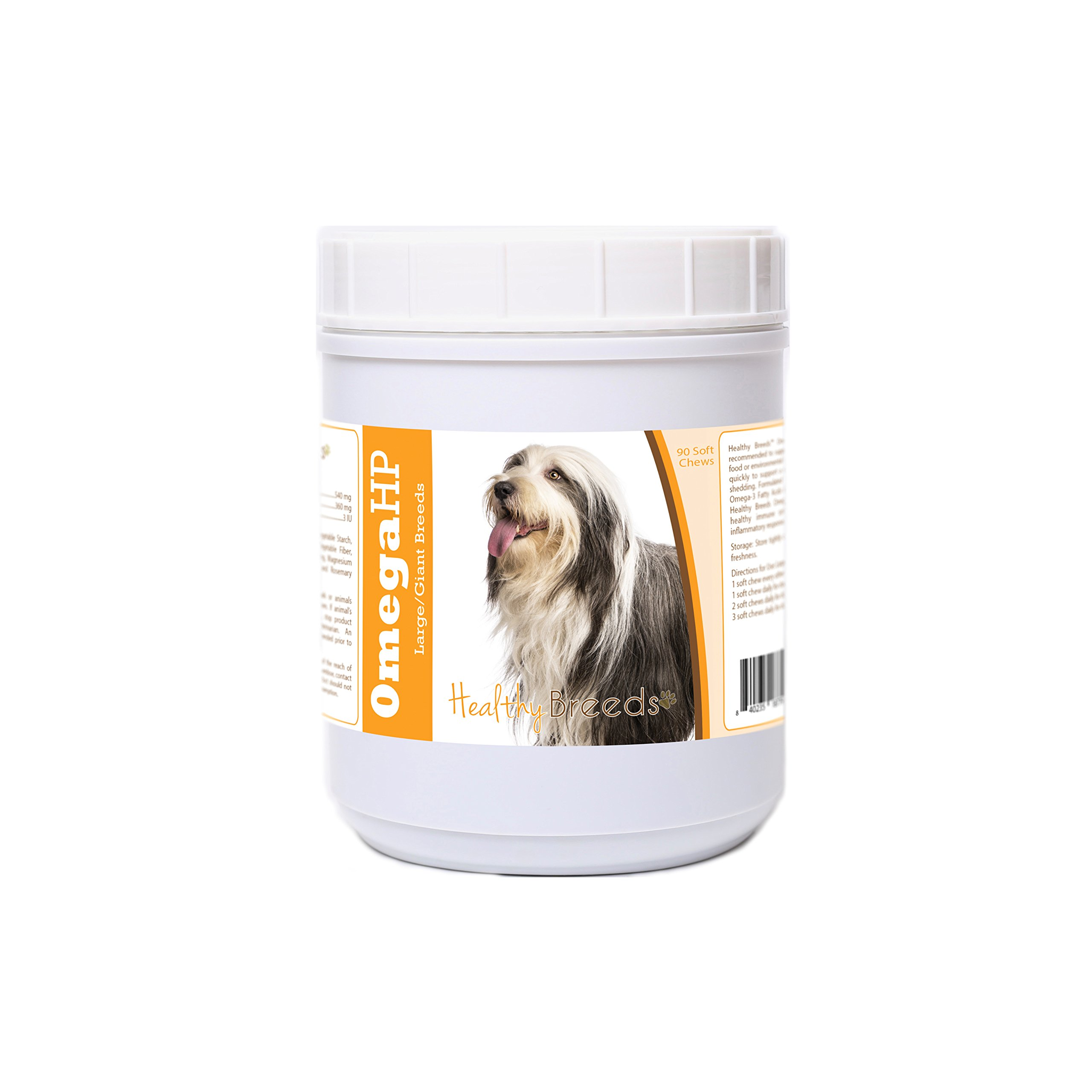 Healthy Breeds Dog Omega 3 Supplement Soft Chews for Bearded Collie - OVER 100 BREEDS - EPA & DHA Fatty Acids - Medium & Large Breed Formula - 90 Count by Healthy Breeds