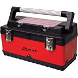 Homak 20-Inch Metal and Plastic Hand-Carry Toolbox with Aluminum Handle, Red, RD00120004