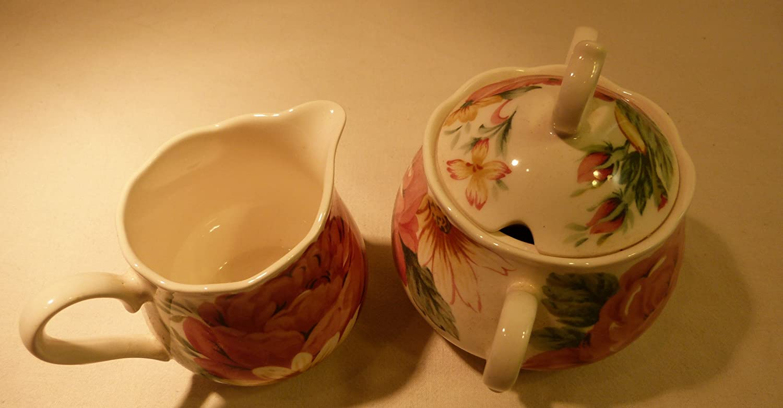 Nikko Tableware Fine China Sugar Bowl and Creamer Set in English Garden Pattern