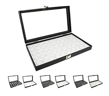 f815e8502d6ac Novel Box® Large Glass Top Black Leatherette Jewelry Display Case + 50  Count Jar Insert Tray in White + Custom NB Pouch