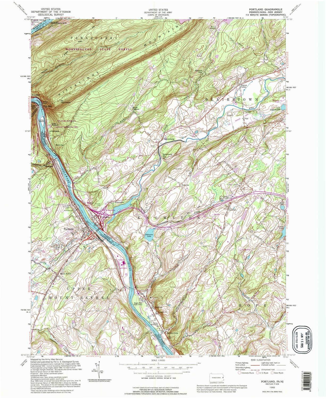 Amazoncom Yellowmaps Portland Pa Topo Map 124000 Scale 75 X - Portland-on-us-map