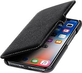 StilGut Custodia per Apple iPhone X/iPhone XS a Libro in Pelle, Nero con Clip