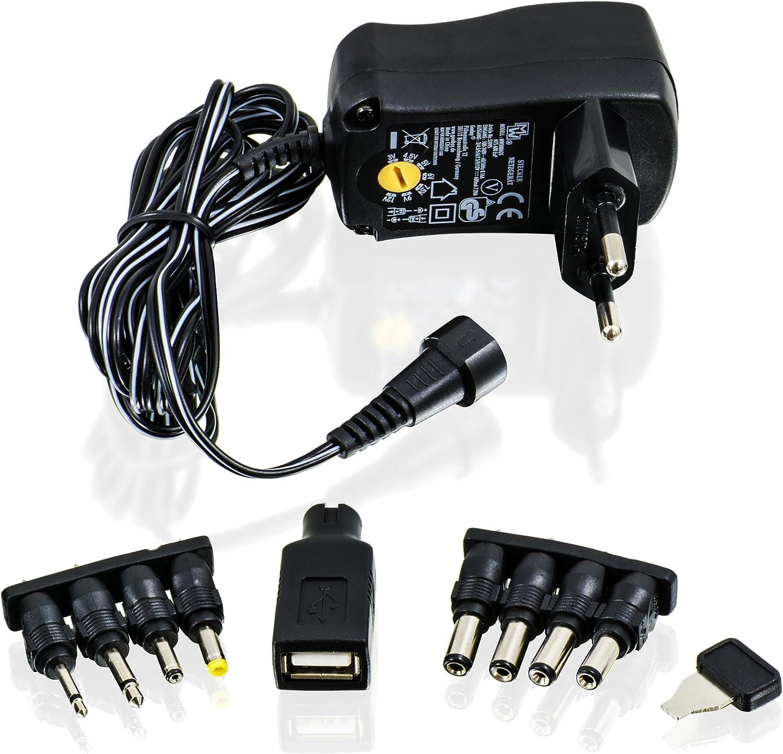 CSL - Fuente de alimentación Universal 3 4,5 5 6 7,5 9 y 12V CA CC 1000 mA, 9 Conectores - Adaptador de Viaje